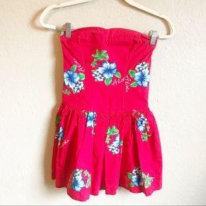 Hollister Red Aloha Hawaiian Strapless Dress